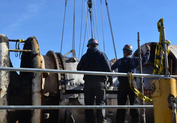 UBC Millwrights work on turbine
