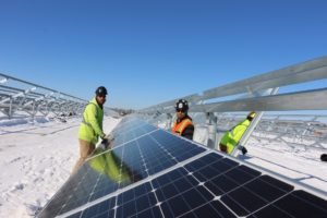 UBC millwrights inspecting solar panels