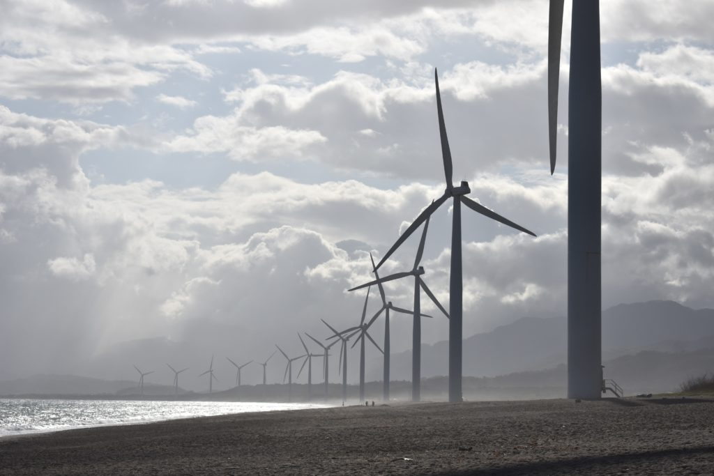 Wind turbines on ocean shore